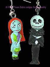 Funky Zombie JACK SKELLINGTON-SALLY EARRINGS-Gothic Mini Figures Costume Jewelry