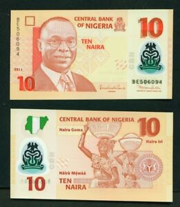 NIGERIA - 2011 10 Naira Polymer Native Women UNC