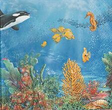 2 Serviettes en papier Mer Fonds Sous-marins Decoupage Paper Napkins undersea