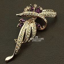 18K RoseGold Plated Fireworks Brooch Pin with Purple Made With Swarovski Crystal