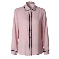 Women Chiffon Long Sleeve OL Work Shirt Ladies Button Solid Blouse Casual Tops G
