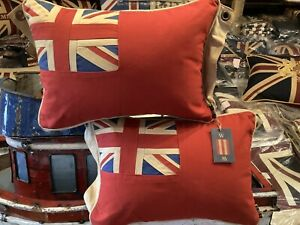 Pair Of Red Ensign /Duster End Union Jack /Nautical Look Cushion  12x18in