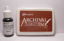 Ranger Archival Ink - SEPIA Brown Stamp Pad and Reinker Acid Free Waterproof