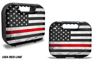 Skin Decal Wrap for Glock 19 21 22 43 Pistol Gun Hard Case Fire Fighter Red LINE