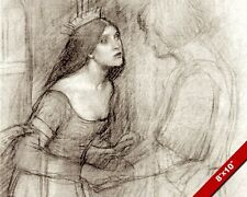 PENCIL SKETCH OF YOUNG PRINCESS WOMAN PRE OIL PAINTING ART REAL CANVAS PRINT