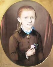 Louis Fritze 1810-1896 Schmiedefeld Sonneberg / Pastell Mädchen-Portrait 1883