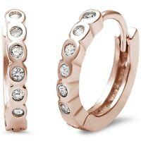Genuine Diamond Bezel Huggie Hoop Earrings - 14k Rose Gold/Sterling Silver