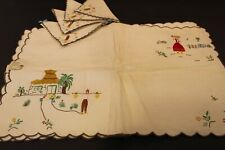 RARE MADEIRA HAND EMBROIDERED 4 PLACEMATS 4 NAPKINS Portugal