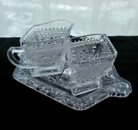 Indiana Glass Clear Sandwich Creamer, Open Sugar Bowl & Tray Under Plate