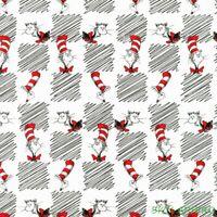 "FQ R.Kaufman Dr. Seuss Cat in the Hat Checkerboard Cotton Fabric 18""Lx21""W-BTFQ"