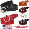 Women's Jean Belt, Classic Round Buckle Handcrafted Genuine Leather Belt
