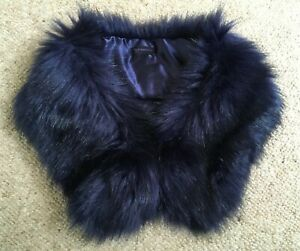 Midnight blue faux fur collar stole scarf wrap NEW by Zoe Maddison