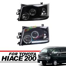 Black Lens White Angel-eye LED Headlight Lamp For Toyota Hiace 200 Van 2005~2009