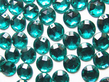100 Emerald Dark Turquoise Beads Acrylic Rhinestone Gems 10 mm Flat Back 2 Holed