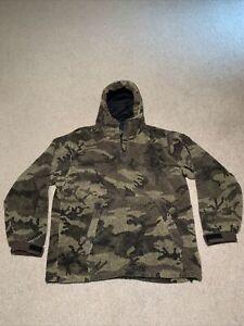 Cabela's Berber Fleece WindShear Outfitter Brown Camo Hooded Pullover XL