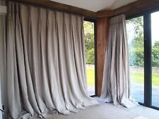 LUXURY PAIR Pale GREY 100%Linen LINED INTERLINED 3.05mLONG 2.80mWide CURTAINS