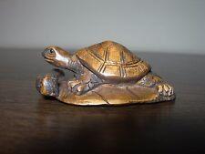 Netsuke tortue turtle Leaf (2) Figurine buis japonais Handcarved signé