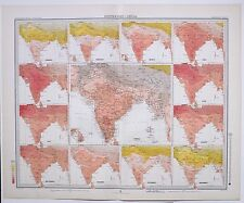 1899 LARGE WEATHER METEOROLOGY MAP ISOTHERMS INDIA ANNUAL TEMPERATURE