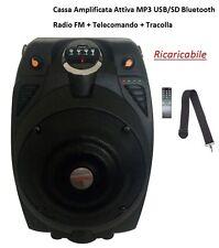 CASSA AMPLIFICATA ATTIVA PORTATILE RICARICABILE A BATTERIA MP3 USB SD BLUETOOTH