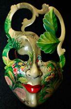 Balinese Mask Green Goddess  Bali Wood Carving Hand painted Wall Art