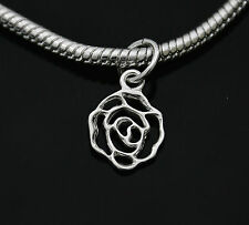 GENUINE 925 STERLING SILVER ROSE PENDANT CHARM FOR EUROPEAN BRACELET