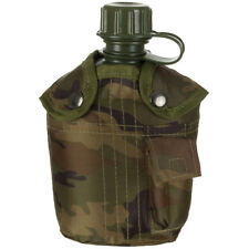 MFH 1L Water Canteen Travel Camping Airsoft Outdoor with Cover Woodland Camo
