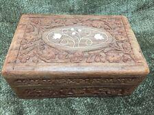 """Vintage Hand Carved Crafted Wood Jewelry Trinket Box W/ Bone Inlay 6x4x2.5"""""""