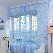 Tulle Door Window Floral Curtain Drape Divider Panel Voile Scarf Sheer Valances