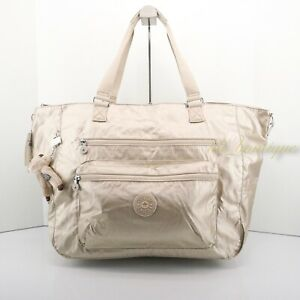 NWT New Kipling SL4831 ISAAC Extra Large Tote Bag Polyester Starry Gold Metallic