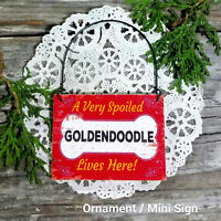 DecoWords Wood Dog Ornament Mini Sign SPOILED LHASAPOO Lives Here Gift USA New