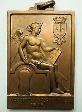 ART DECO BRONZE MEDAL International Exposition BY FISCH 1939 / 50 x 75 mm / N133