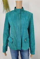 Lafayette 148 Jacket 100% Suede Zip Up Aqua Blue High Collar Womens Size 6