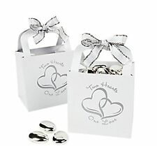 48 Silver White Two Linked hearts Gift Boxes Candy Baskets Wedding Party Favors