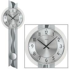 AMS Horloge murale quartz avec pendule Horloges pendules argent neuf