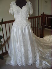 MOORI LEE WHITE WEDDING SHORT SLEEVE BEADED LONG TRAINED DRESS GOWN SIZE 12