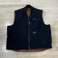 Vintage JEEP Men's Canvas Quilted Lined Vest Size XL Black / Brown - Workwear