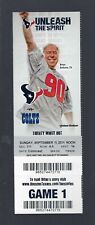 2011 NFL COLTS @ TEXANS FOOTBALL FULL UNUSED TICKET - JJ WATT - DEBUT FIRST GAME
