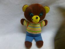 Vtg 70s 1974 Mattel Soft Body Stuffed Teddy Bear Toy Rare Striped Shirt Pants