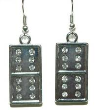 BRIGHT SHINY SILVER TONE BLING DOMINO DANGLE EARRINGS (D110)