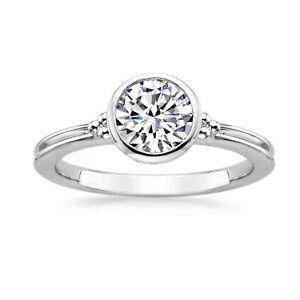 950 Platinum Diamond Brilliant Round Cut 1.00 Ct Engagement Women Ring Size M