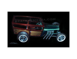ZOMBIE-ART PRINT-WOODY,WOODIE,FORD,HOT ROD,CHEVY,CARS,RAT ROD,ED ROTH,DODGE,FINK