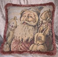 *VINTAGE* Pink Tapestry/Velvet- (Santa) Decorative Pillow