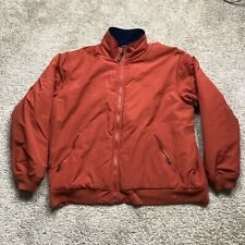 LLBean Mens Jacket Size 2XL Orange Nylon Shell, Blue Fleece Lined