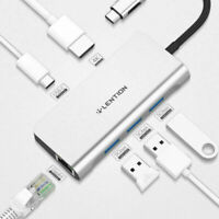 LENTION USB C Hub to HDMI Gigabit Ethernet USB 3.0 Adapter for MacBook Pro Air