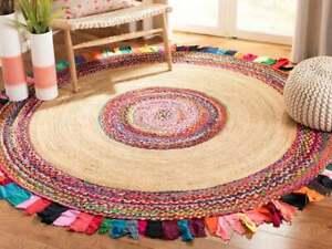 Handmade Handwoven Rag Rug Colorful Chindi Area Rug Home Decor Rug Jute 4x4 Feet