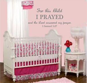 For this child I prayed 1 Samuel 1:27 wall decor decal nursery scripture vinyl