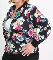 Ladies Plus Size Floral Printed Bright Long Sleeve Lightweight Bomber Jacket