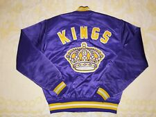 RARE VTG ADULT M STARTER NHL LOS ANGELES KINGS PURPLE GOLD SATIN JACKET CROWN