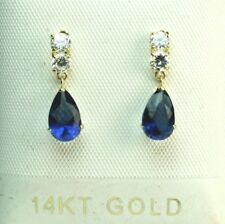 14k solid yellow gold lab. created teardrop Blue Sapphire small stud earrings