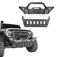 Front Bumper Skid Plate w/ 4x LED Light Textured For Jeep Wrangler JK 2007-2018